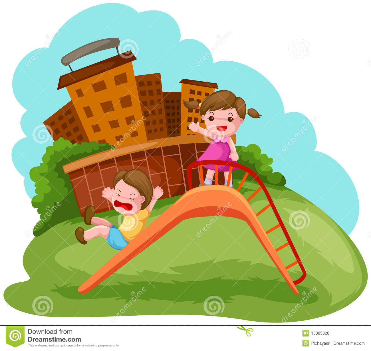 two kids playing on the slide stock vector illustration