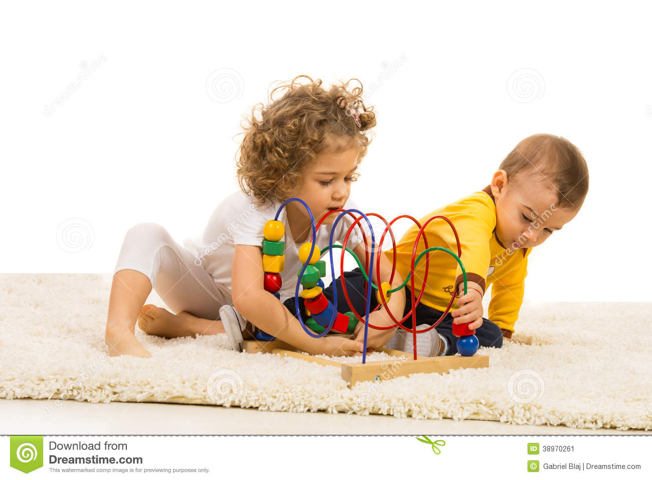 Two Kids Playing With Wooden Toy Stock Photo Image 38970261