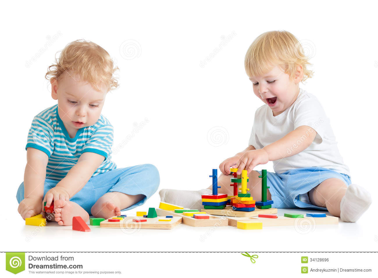 Two Kids Playing Wooden Toys Sitting Together Royalty Free Stock Image ...