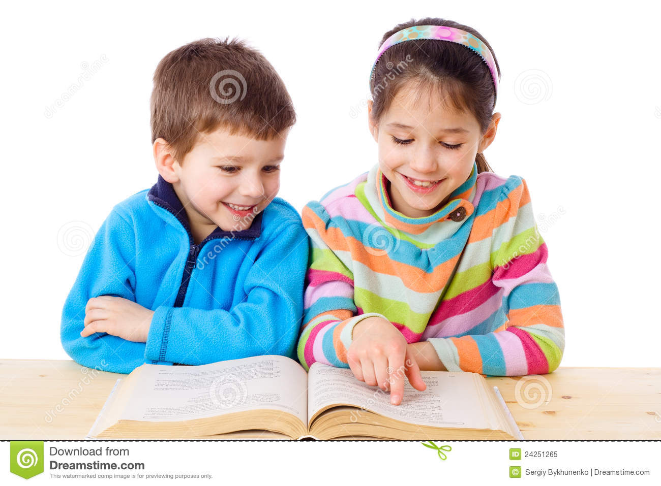 Two kids reading the book stock image. Image of little ...