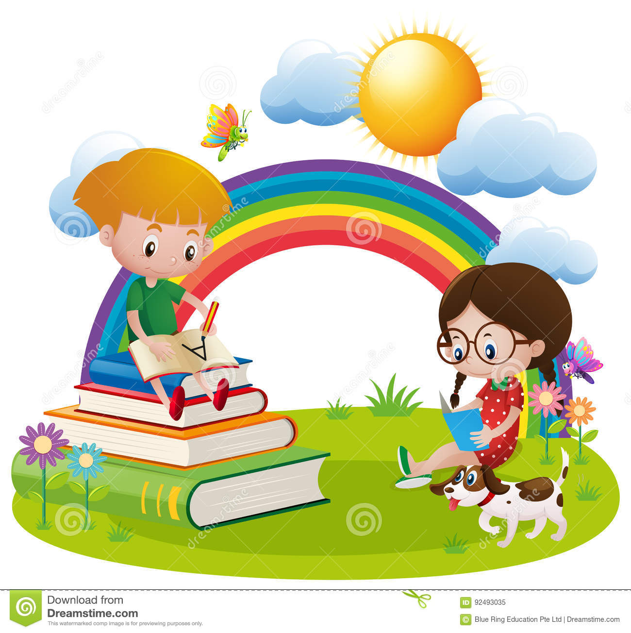 two kids reading and writing in garden stock vector - illustration