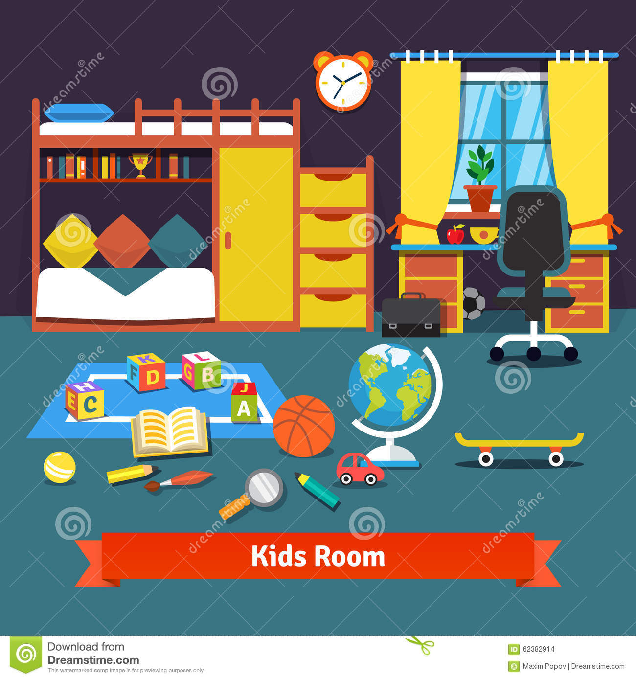 Two Kids Room With Bed, Desk, Chair And Toys Stock Vector