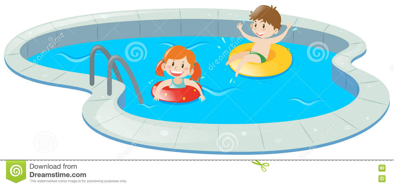 Two kids in swimming pool stock illustration. Illustration ...