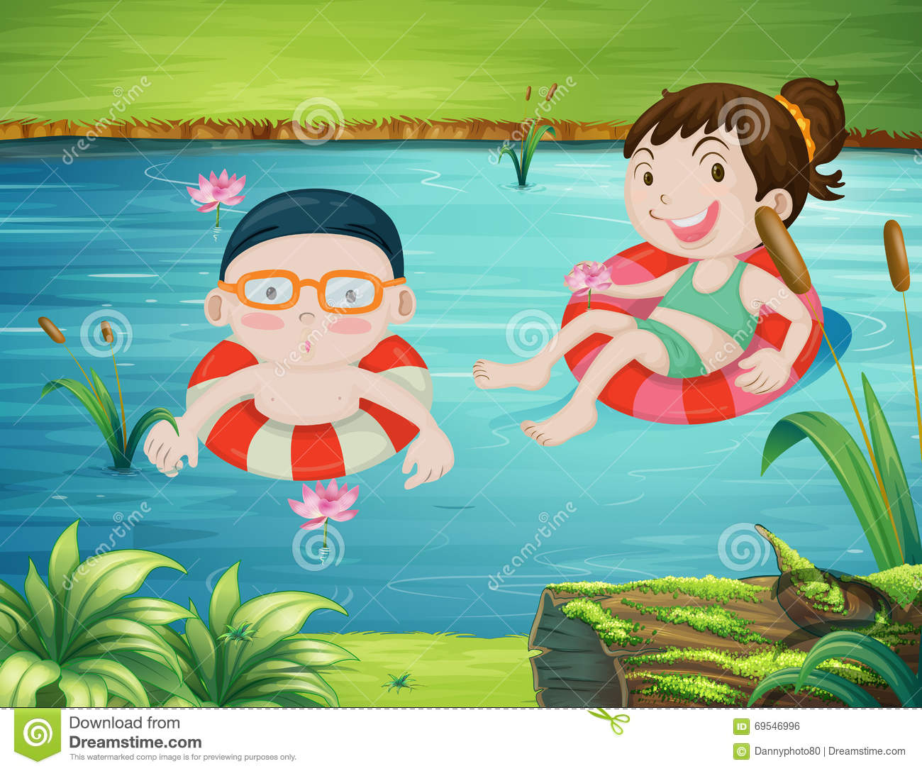 Two Kids Swimming In The River Stock Vector - Image: 69546996