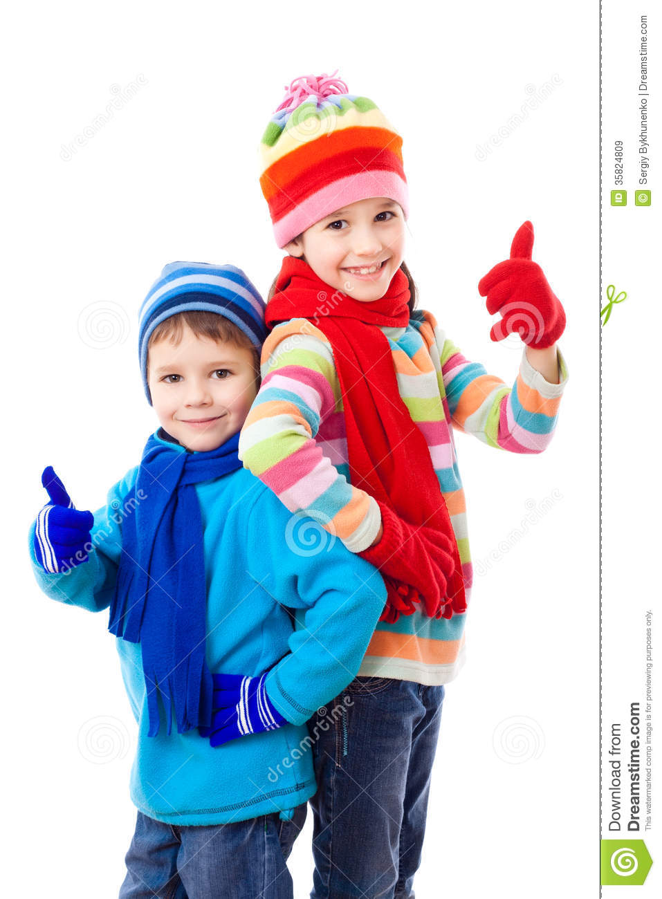 Two Kids In Winter Clothes Royalty Free Stock Images - Image: 35824809