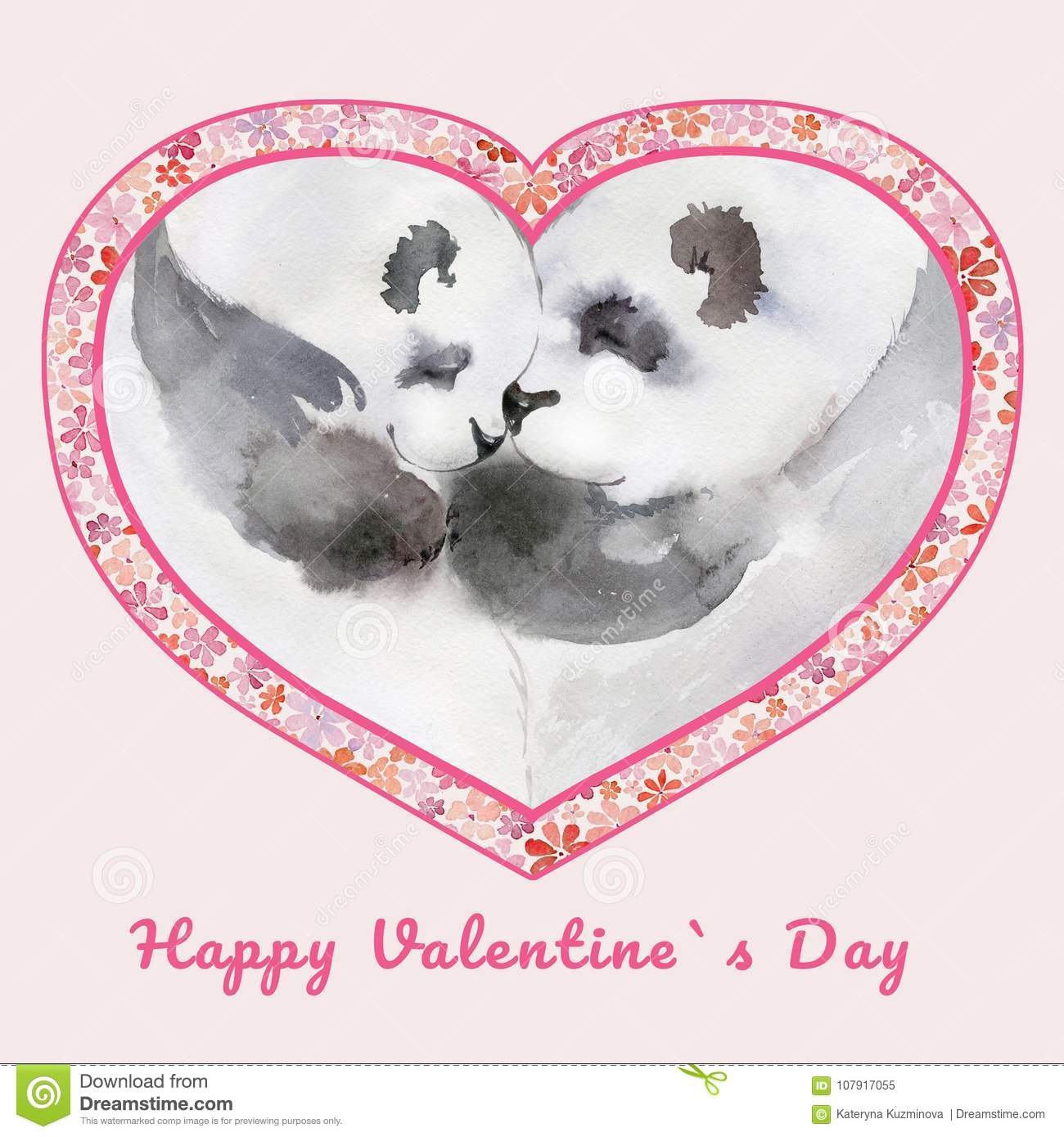 Two Kissing Pandas In Heart Shaped Frame With Small Flowers. Sign ...