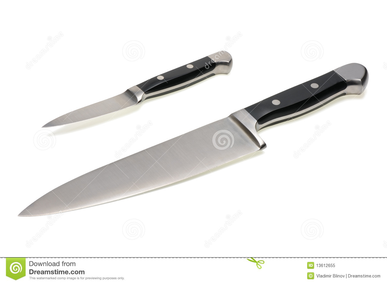 Two forged steel kitchen knife on a white background, isolated.