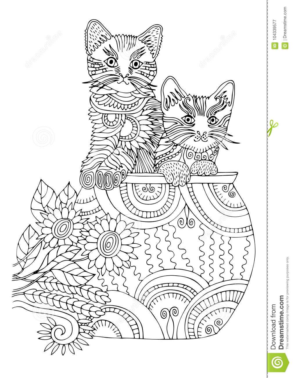 Two Kittens In Cup. Hand Drawn Cat. Sketch For Anti-stress Coloring ...