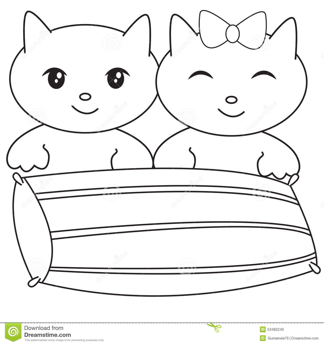 two kittens with a pillow coloring page stock illustration image