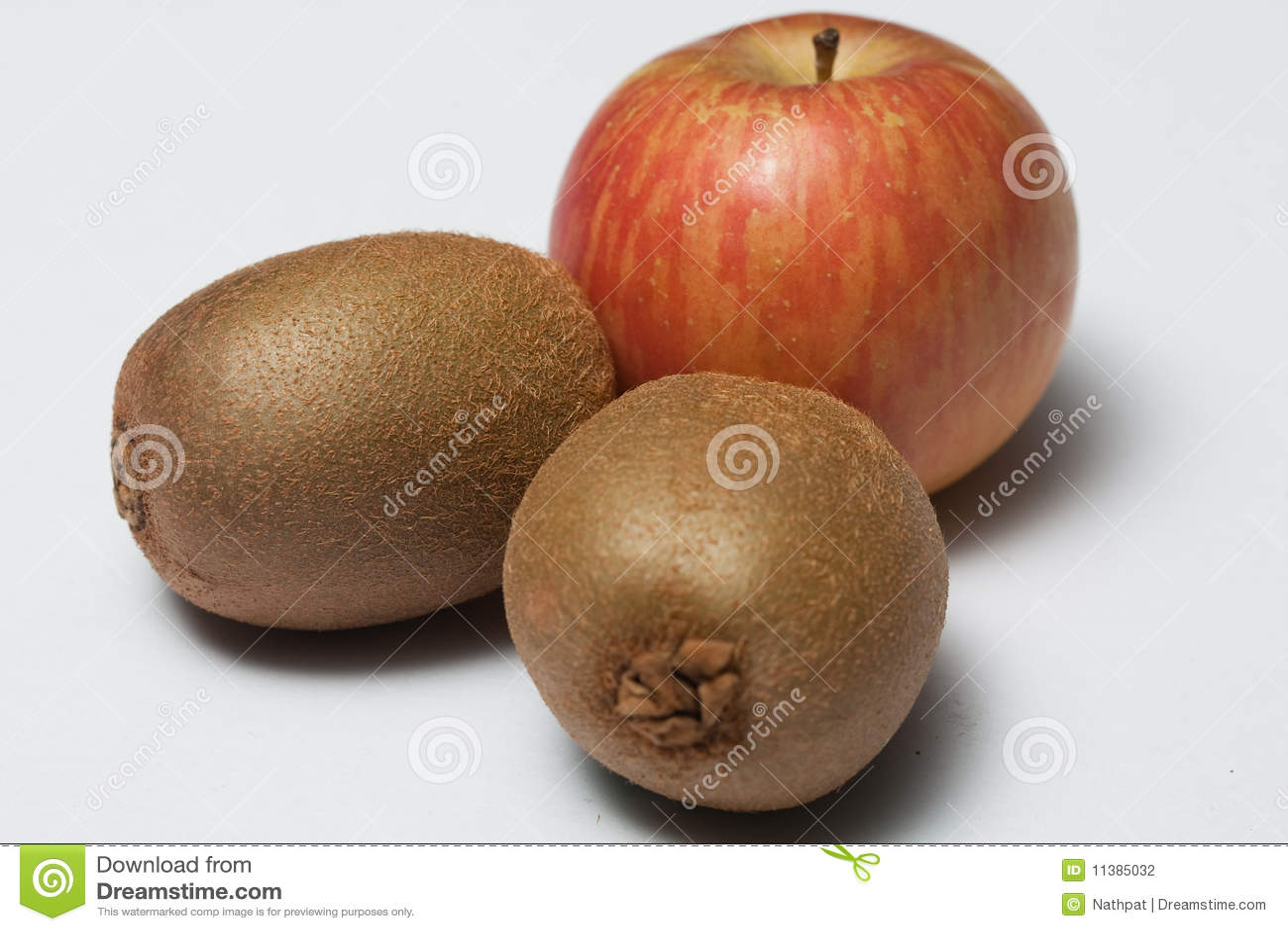Two kiwi fruit and one Thai apple