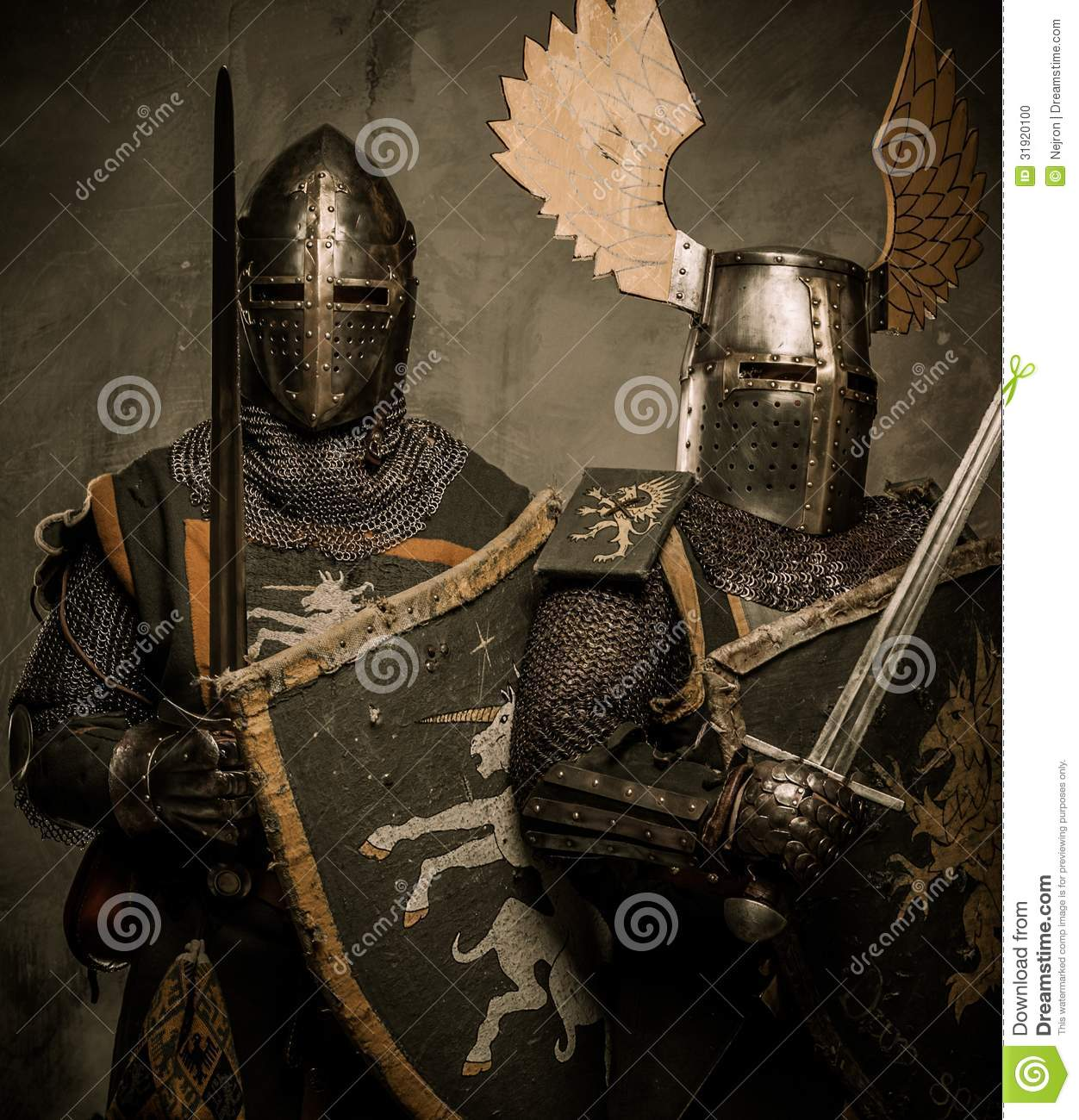 Two Knights Standing Side By Side Stock Photo Image