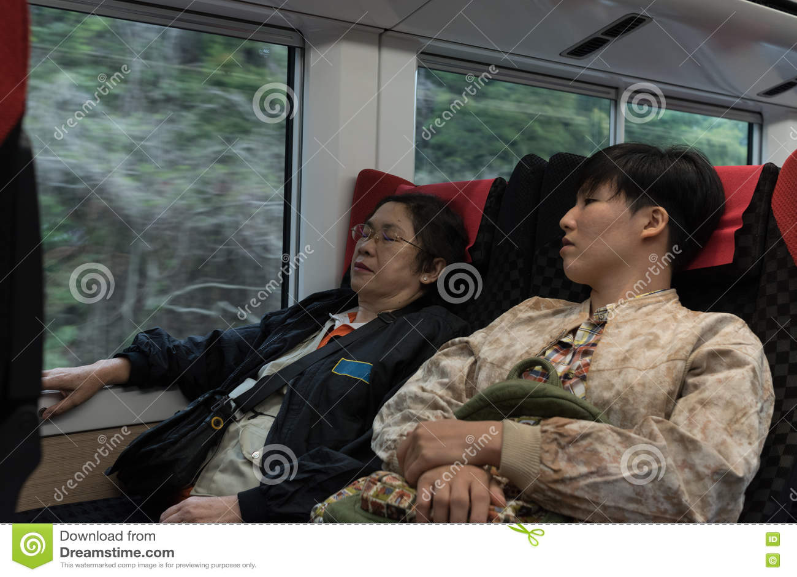 Asian Women On Train