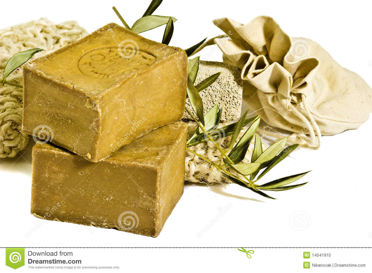 Two laurel soaps , isolated
