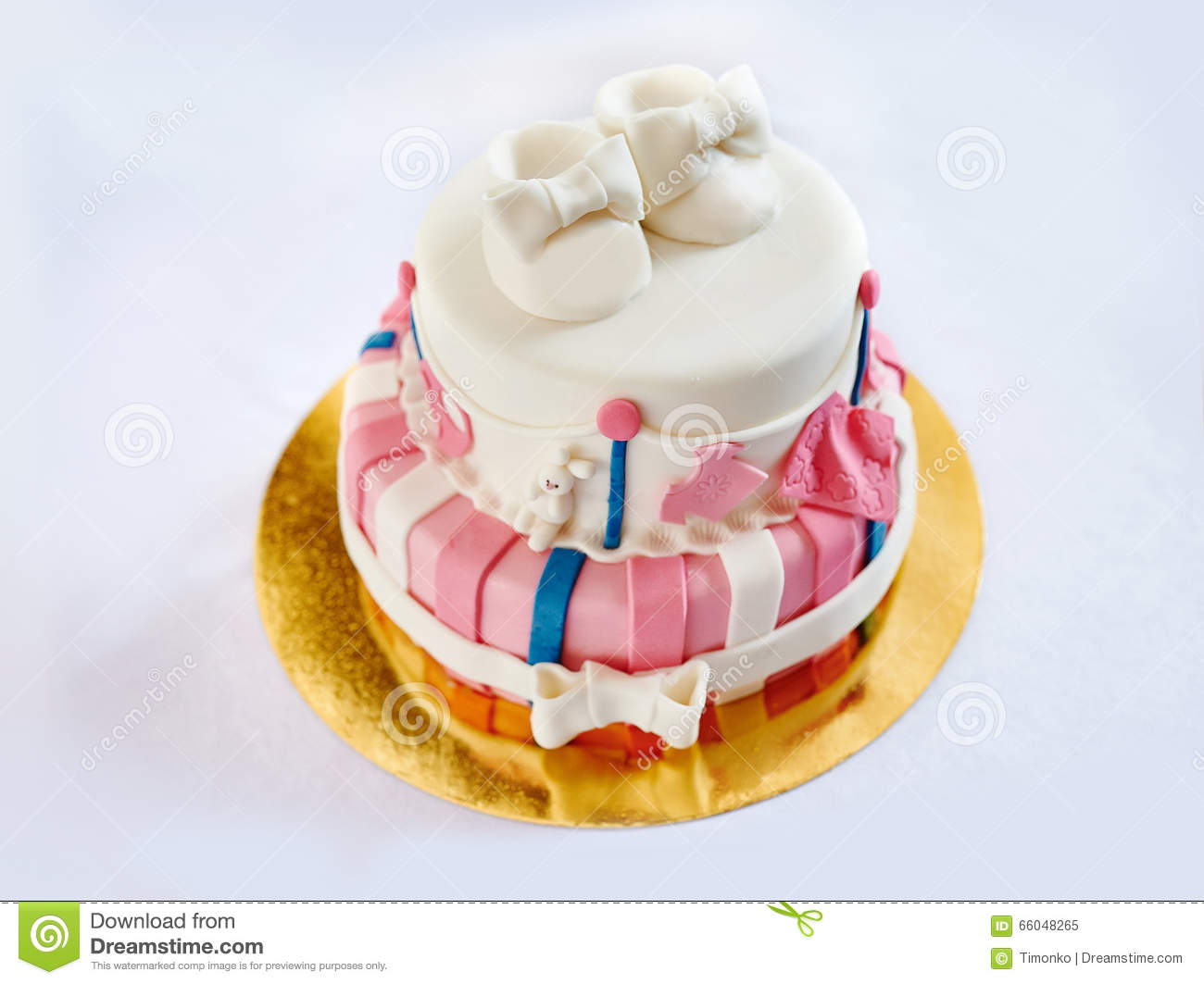 Two Layer Cake For A Child S Birthday Decorated Shoes Stock Image