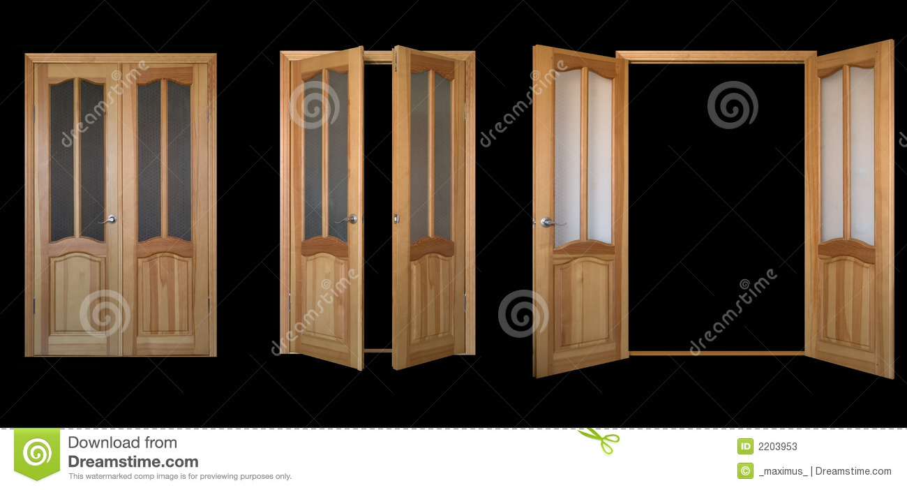 Two Leaf Door Over Black 3view Stock Photos Image 2203953