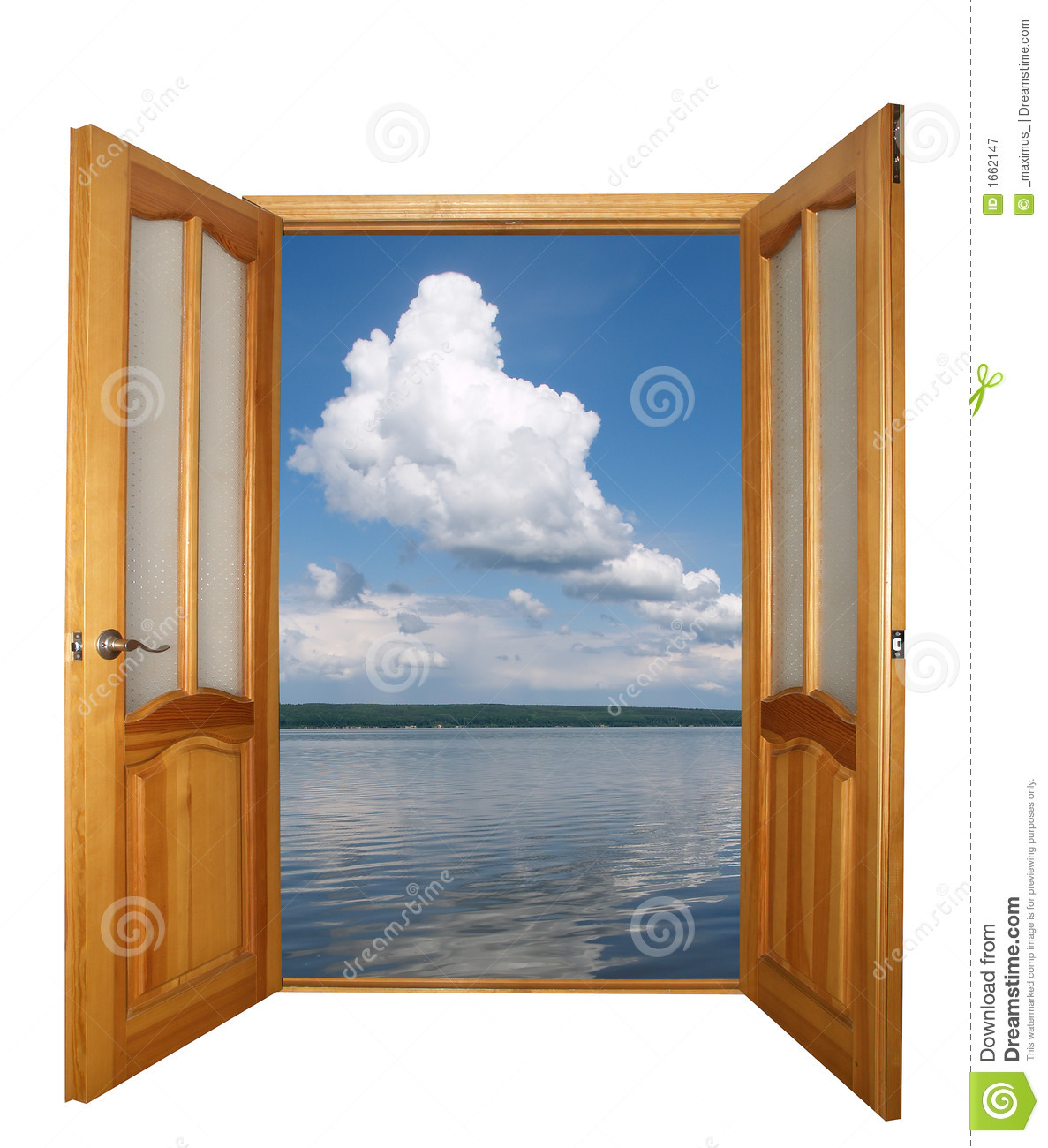 Two Leaf Wooden Door And Clouds Isolated Royalty Free