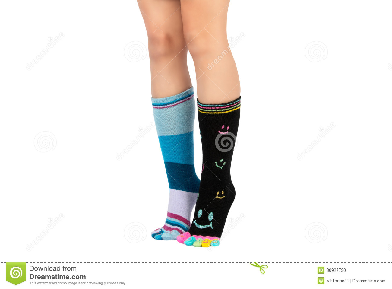 wholesale sales later pretty cheap Two Legs In Different Happy Socks With Toes Stock Photo ...