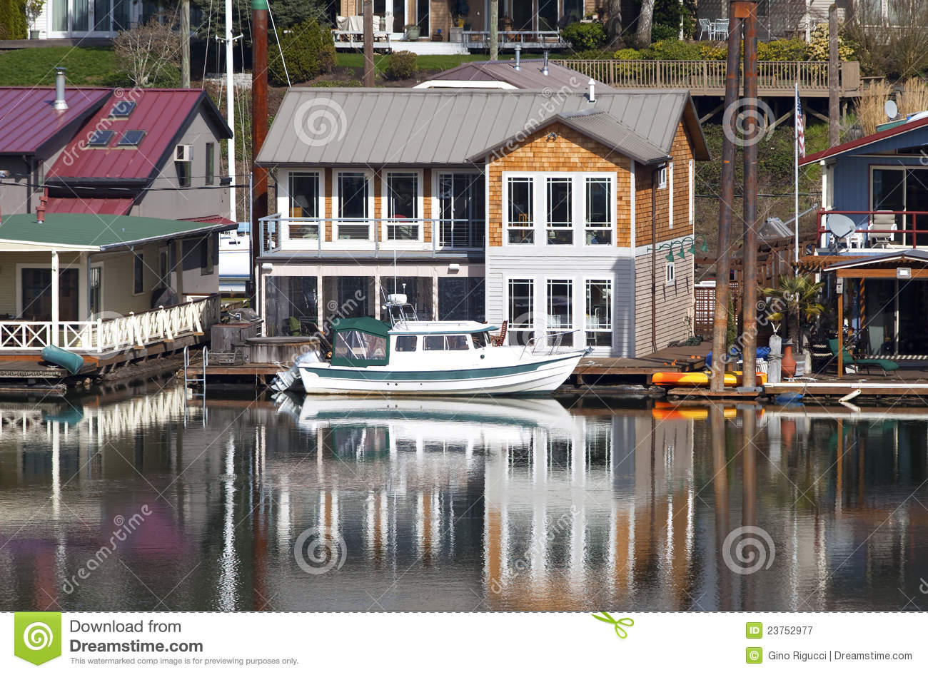Two level floating house portland or royalty free stock for Floating homes portland