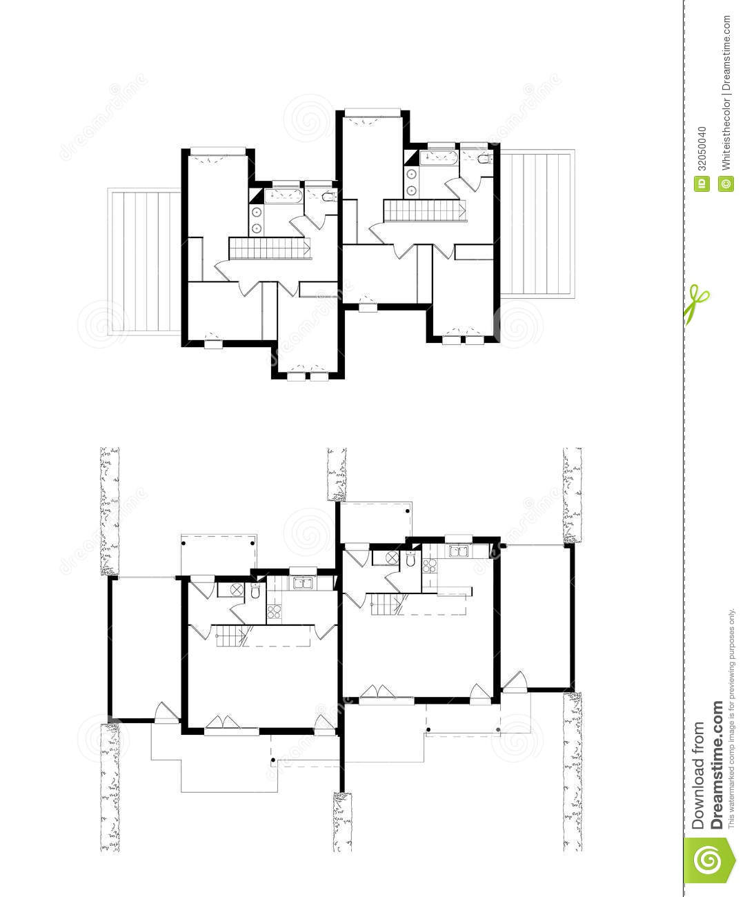 Two levels neighboring houses plans stock illustration for In ground house plans