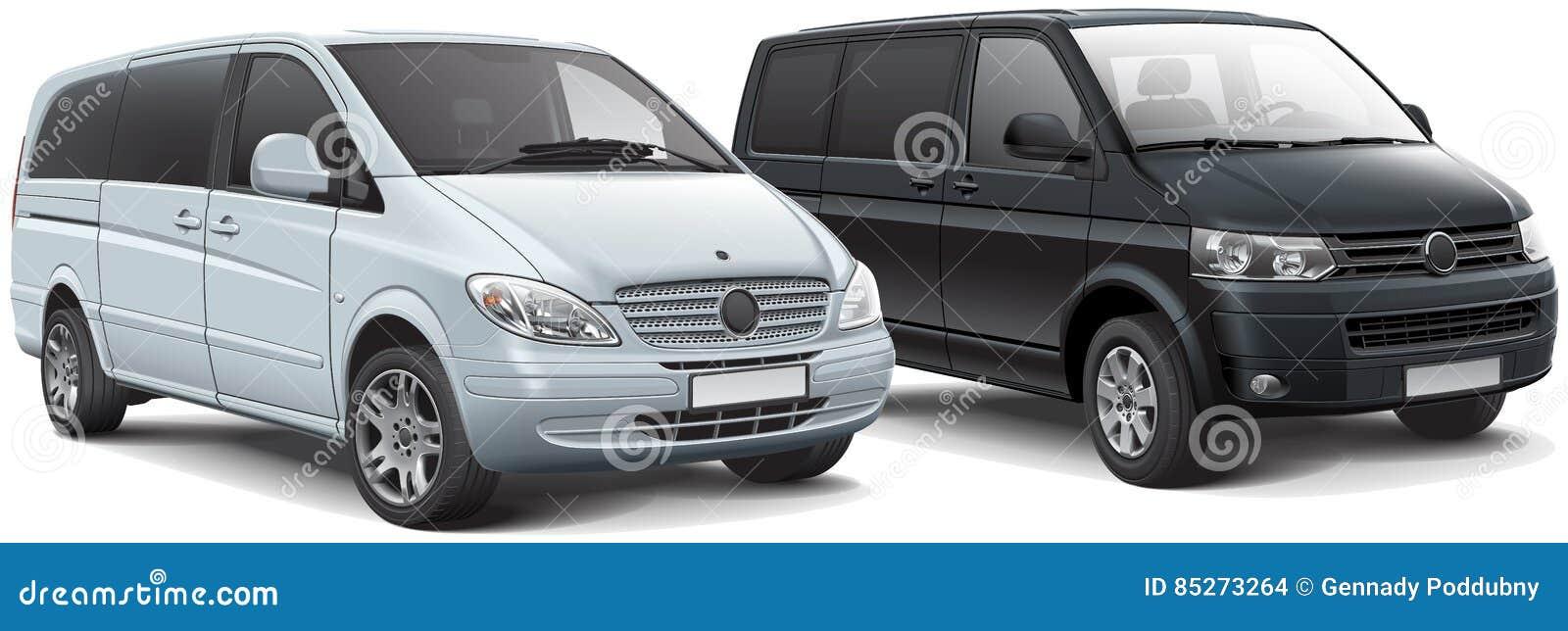 Two Light Passenger Vans Stock Illustration Illustration Of