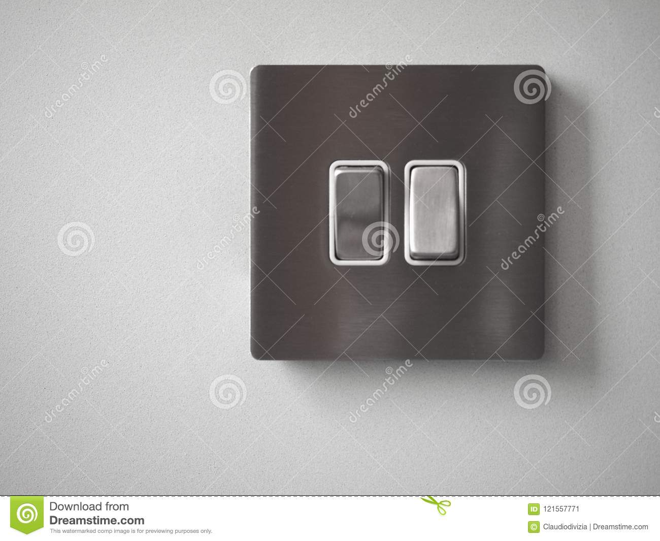 Two light switches stock image. Image of turned, wall - 121557771