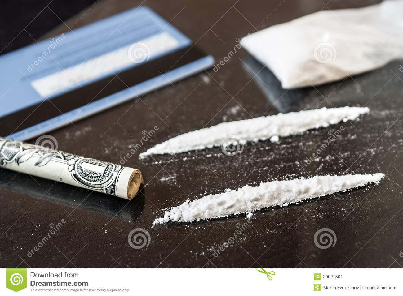 Two line of cocaine