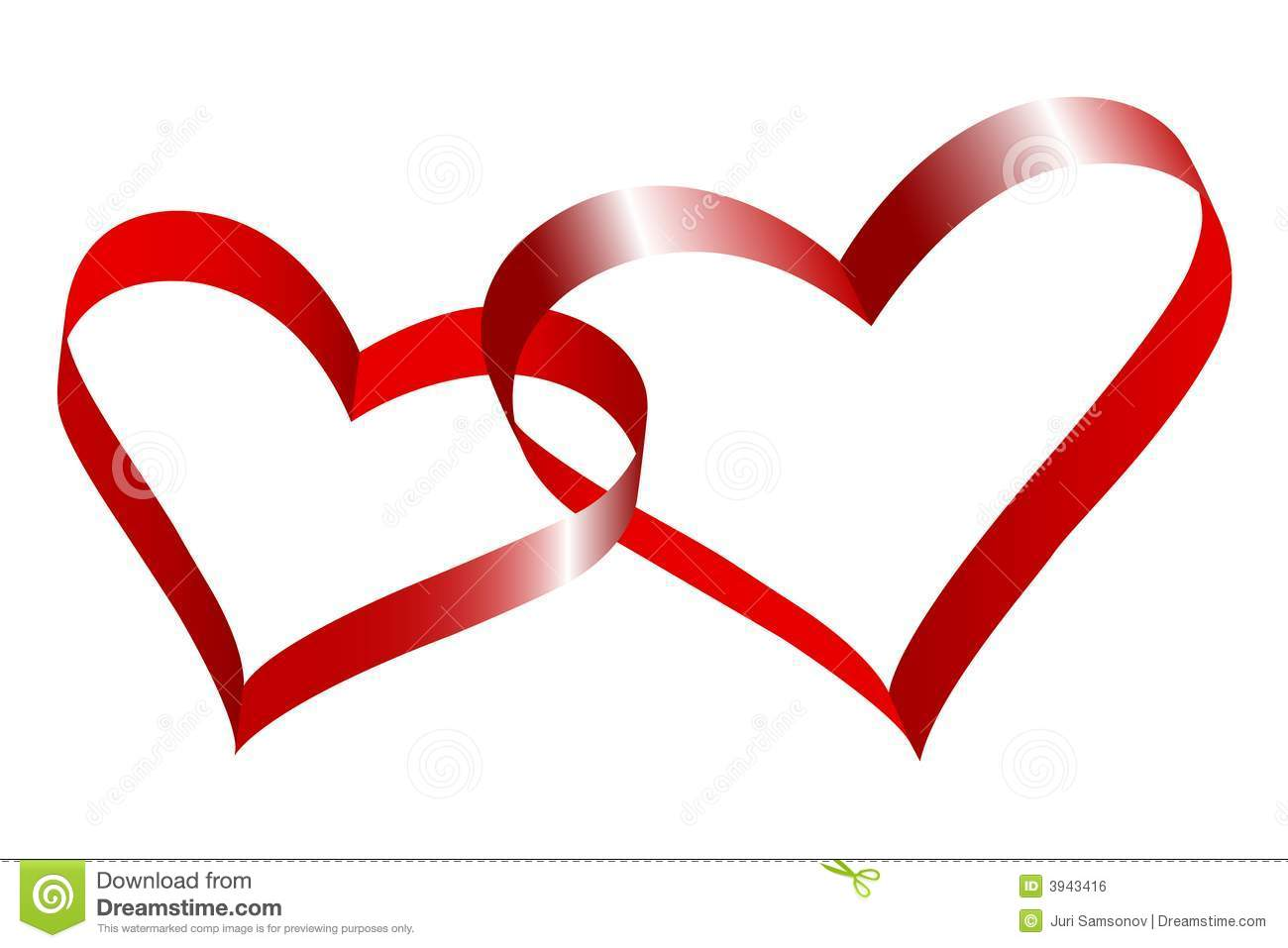 Two Linked Hearts. Royalty Free Stock Image - Image: 3943416