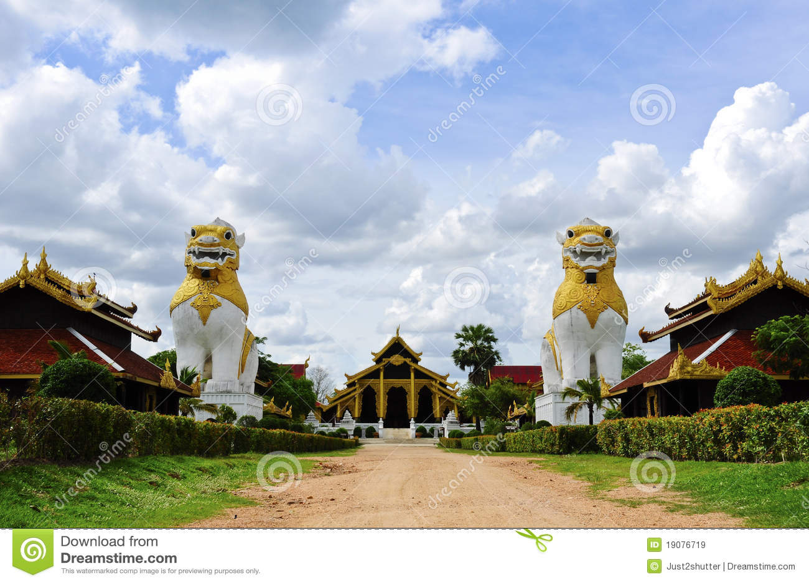 Two lion at Surasri Camp, Kanchanaburi, Thailand