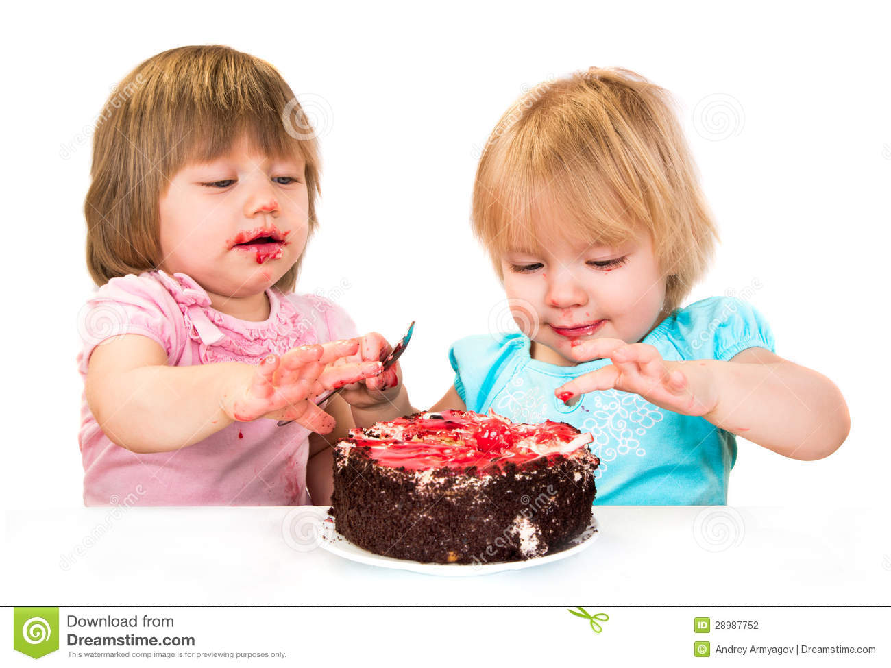 Baby Eating Cake Clipart : Two Little Baby Girl Eating Cake Stock Photography - Image ...