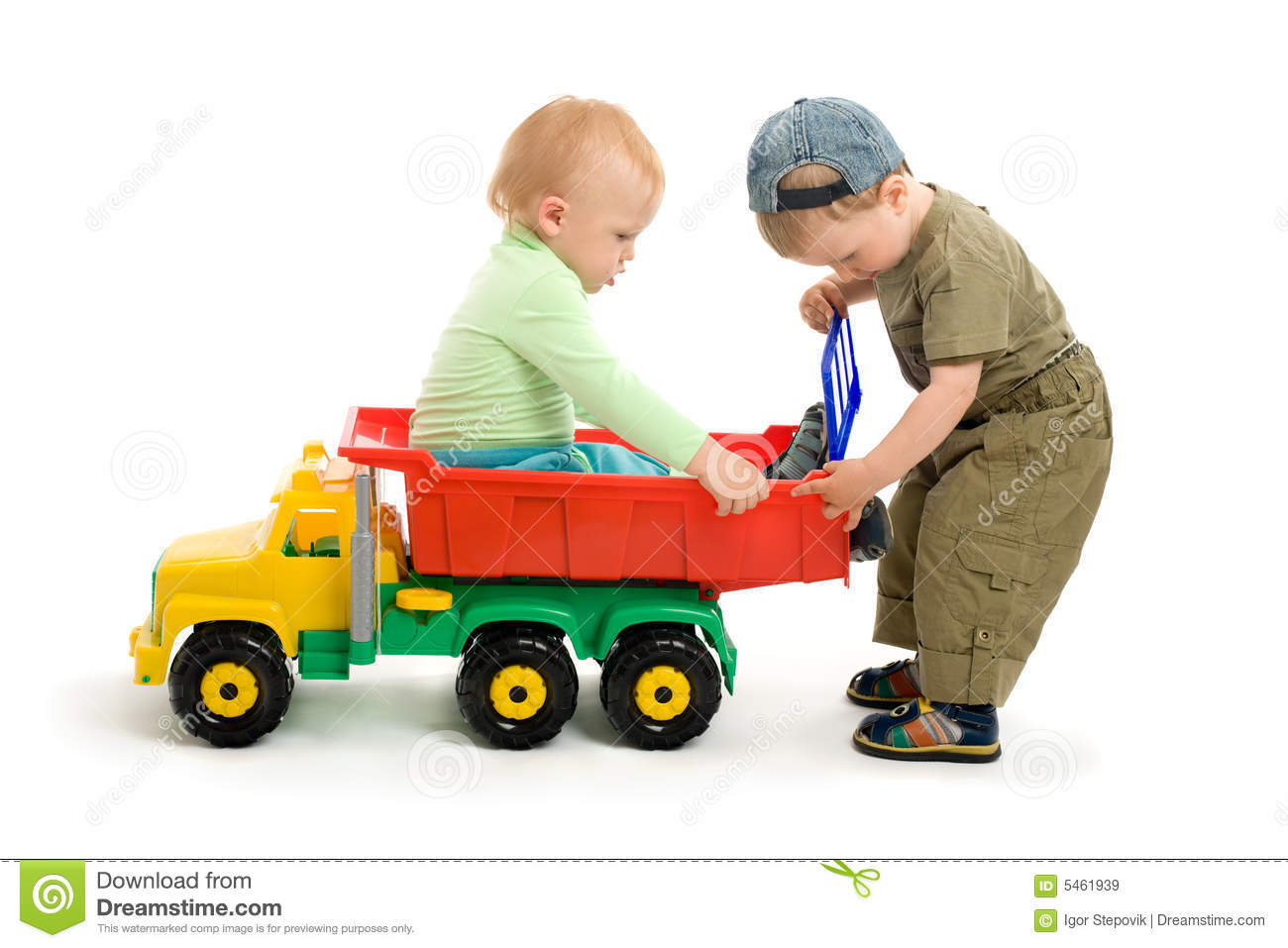 Toy Trucks For Boys : Two little boys play with toy truck stock image of