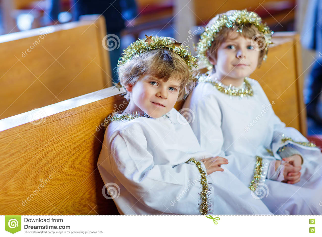 Angel Of Christmas.Two Little Boys Playing An Angel Of Christmas Story In