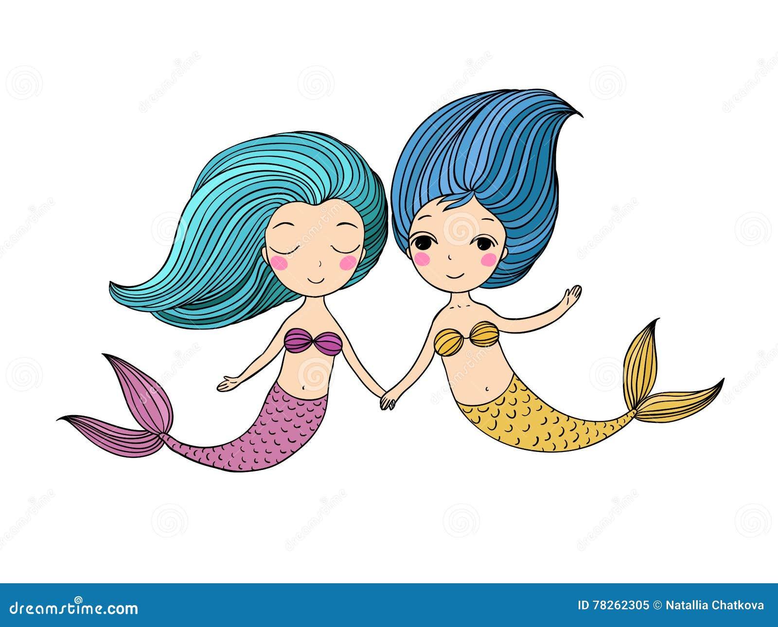 two little cartoon mermaid siren