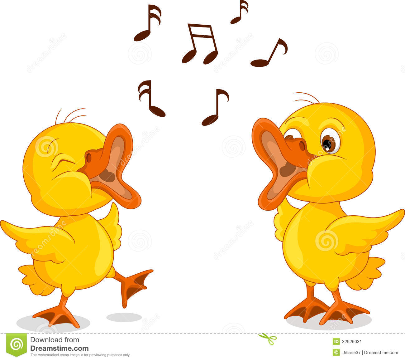 Two Little Chick Cartoon Singing Stock Image Image 32926031
