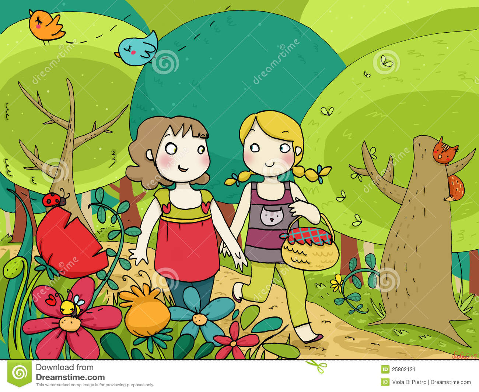 Two Little Friends Walking N The Wood Stock Image