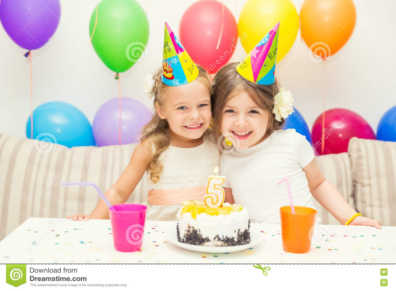 two little girls at birthday party stock photo image of