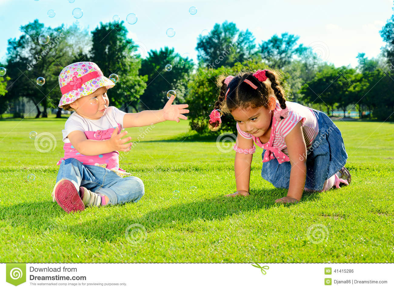 Two little girls on the field