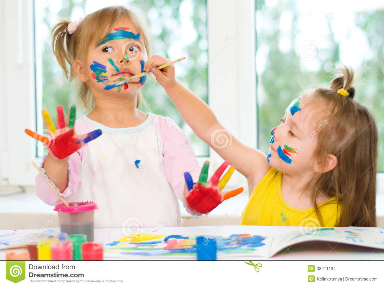 two little girls painting stock photo image of hands 33211134