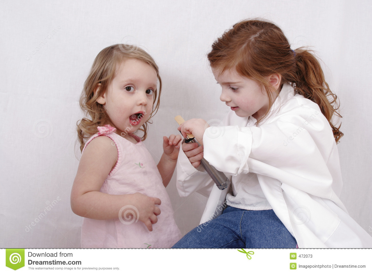 Two little girls playing doctor stock image image 472073 - Pics of small little girls ...