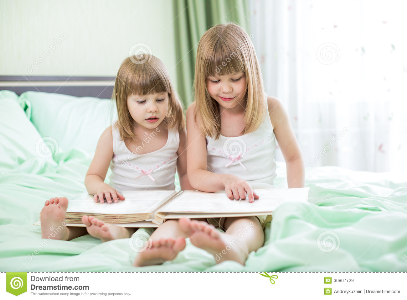Two Little Girls Reading Book Stock Image Image Of Book