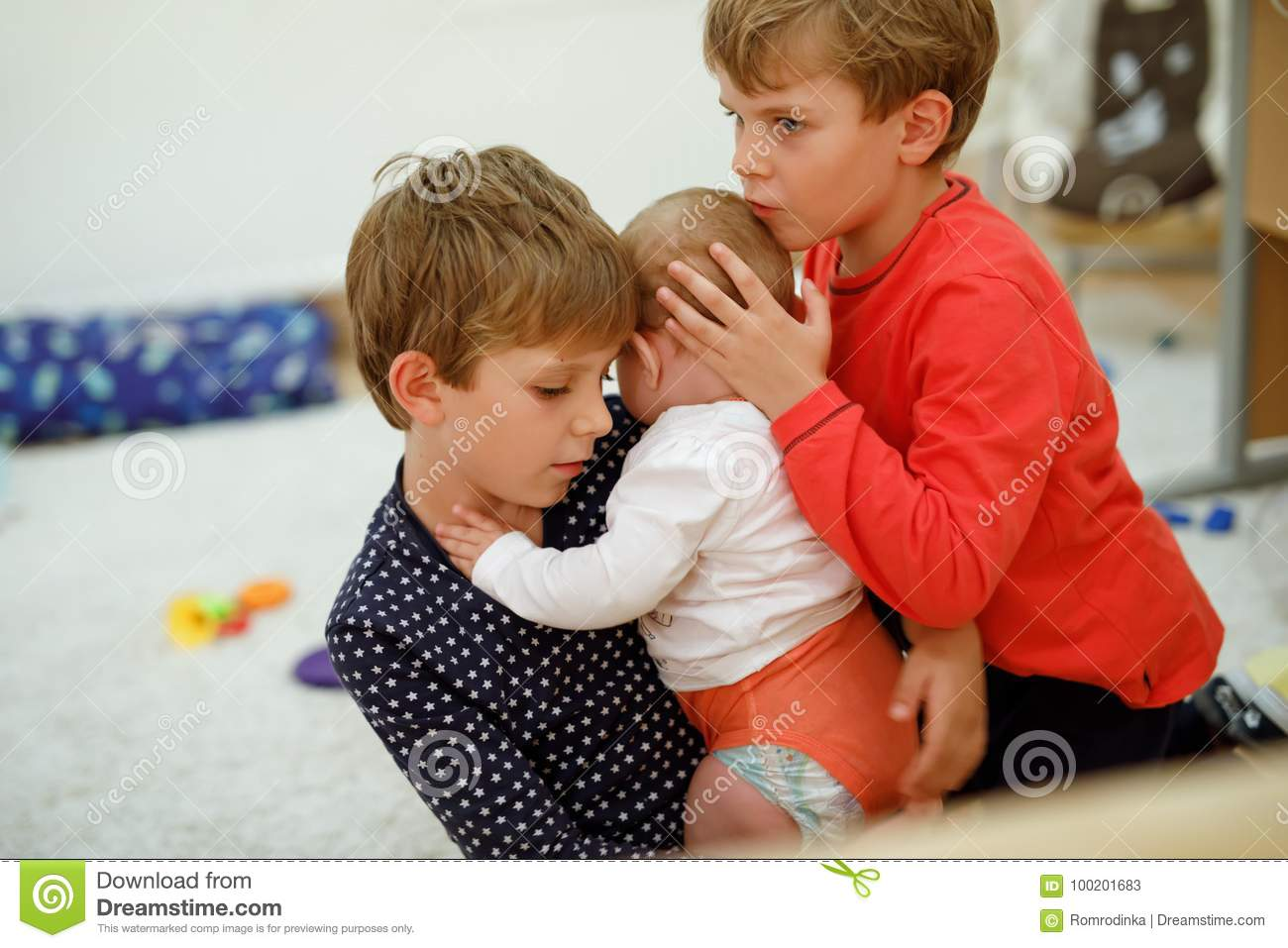 a52f5b75e1c0 Two Little Kid Boys Hugging With Newborn Baby Girl