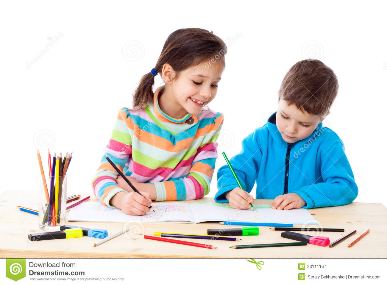 two little kids draw with crayons stock image image of paper