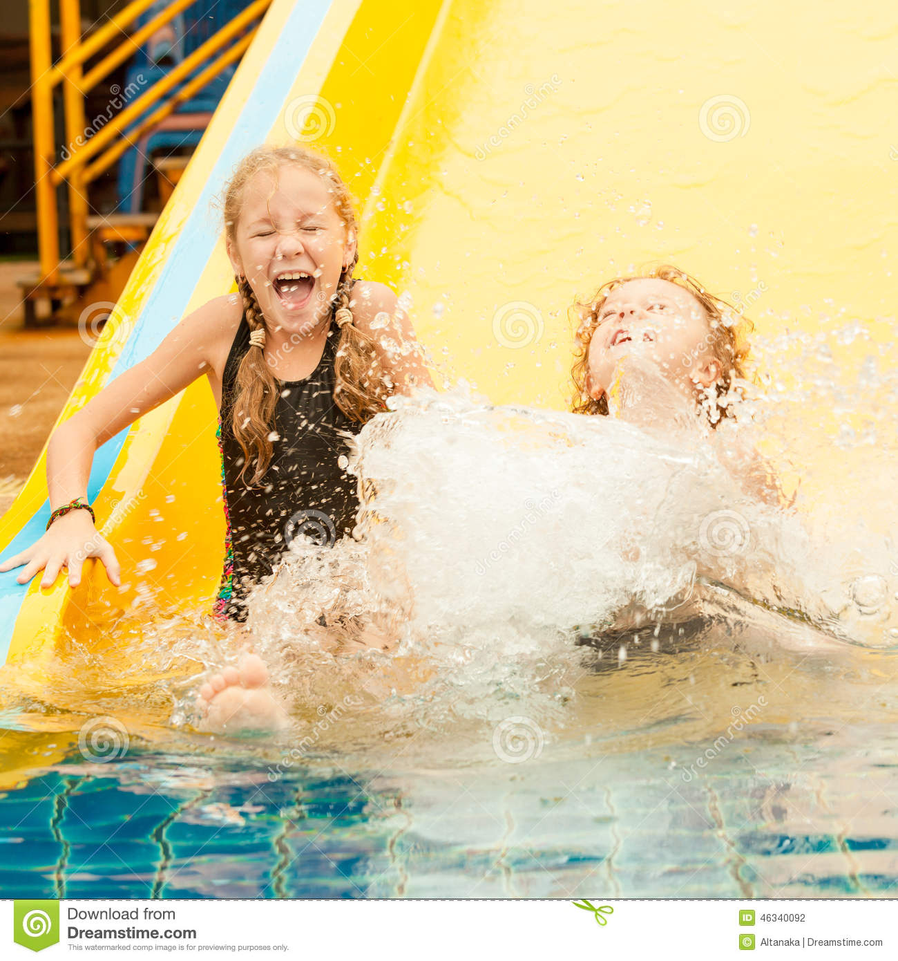Two Little Kids Playing In The Swimming Pool Stock Photo Image 46340092