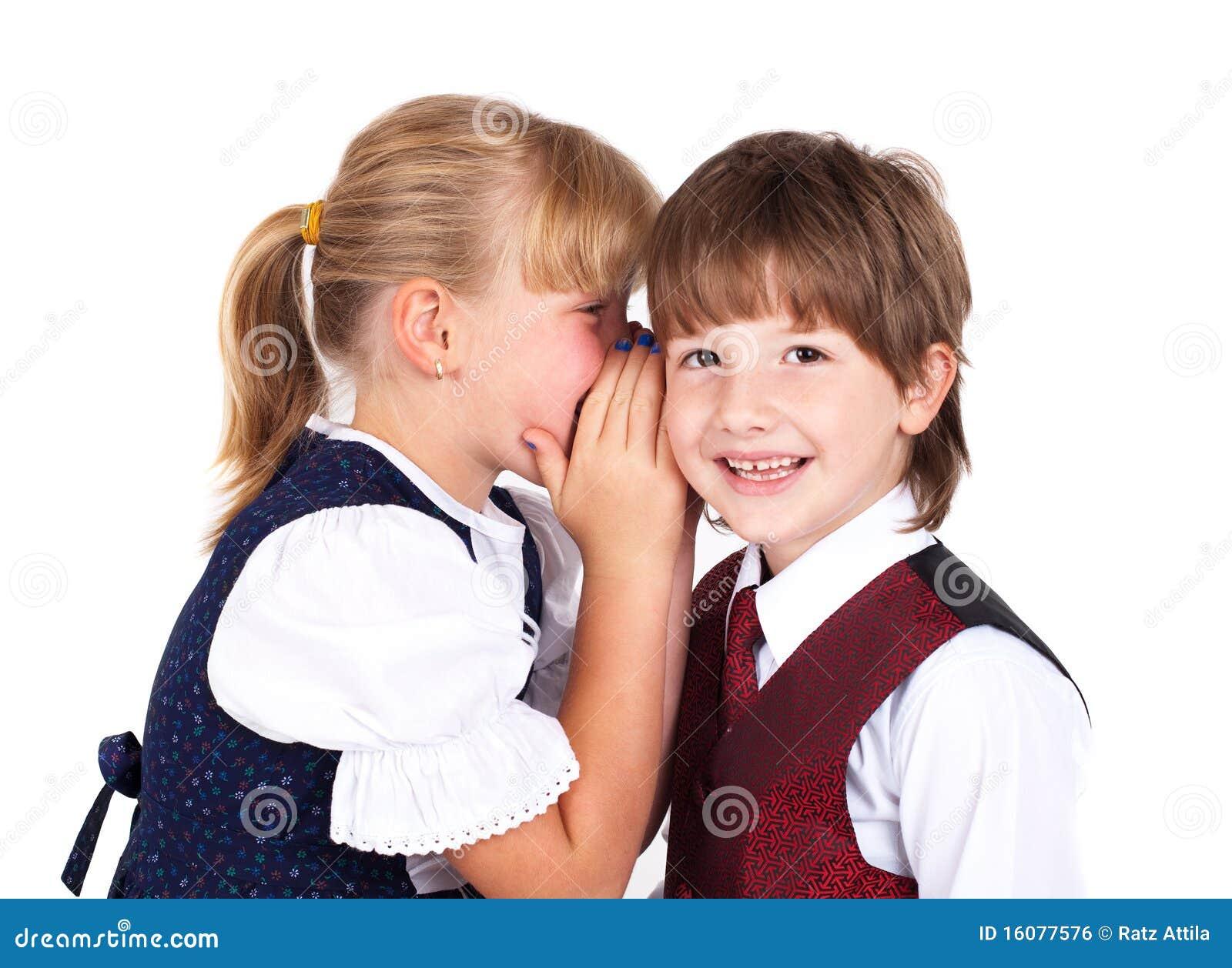 Two Little Kids Telling Secrets Stock Photo Image Of