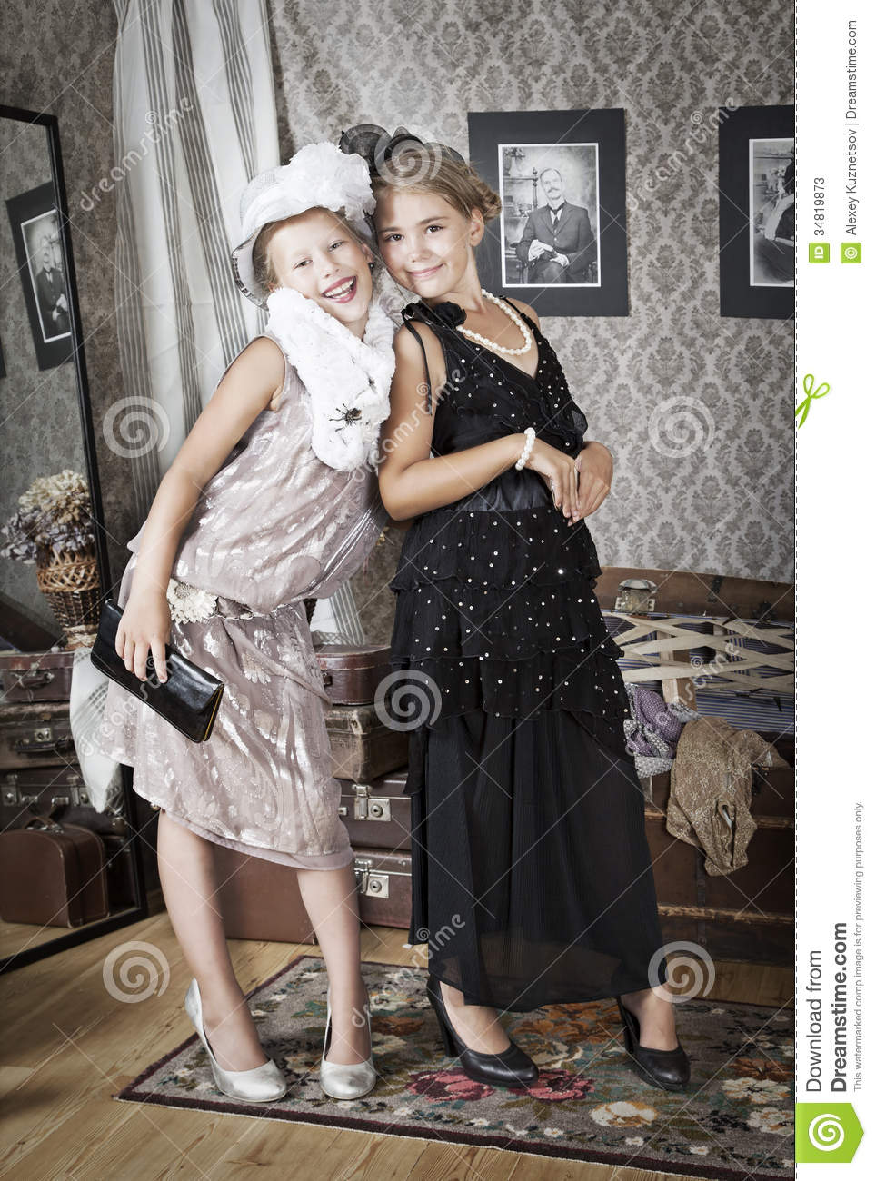 Two Little Old Fashion Girls Stock Photos Image 34819873