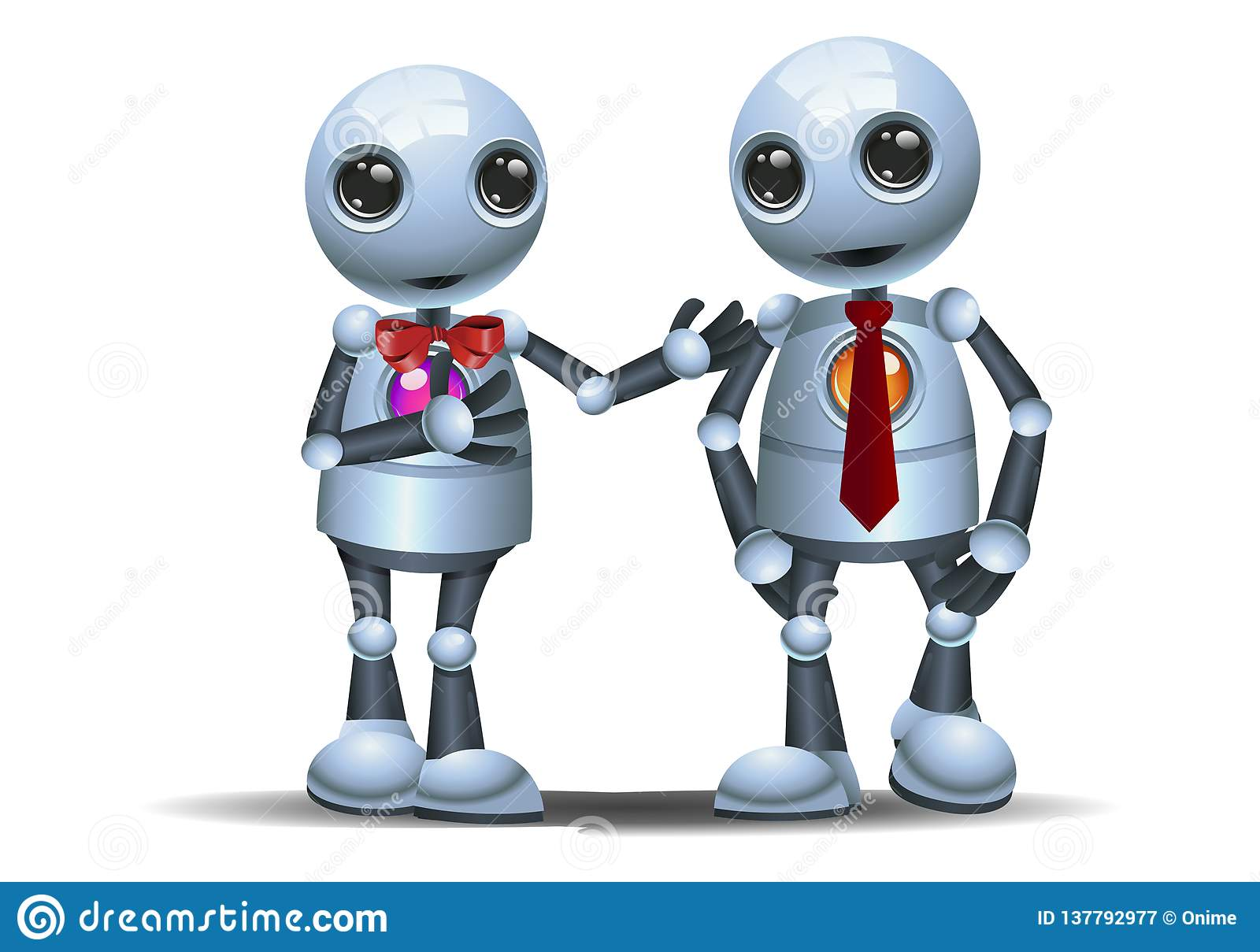 Two little robot walk as a business partner