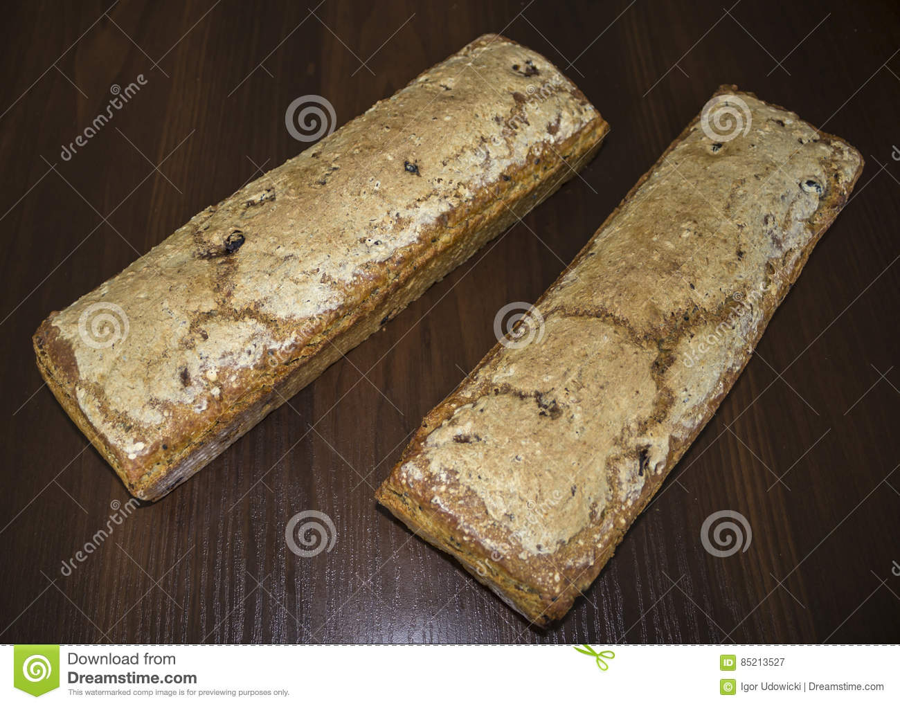 Two loaves of bread baked at home.
