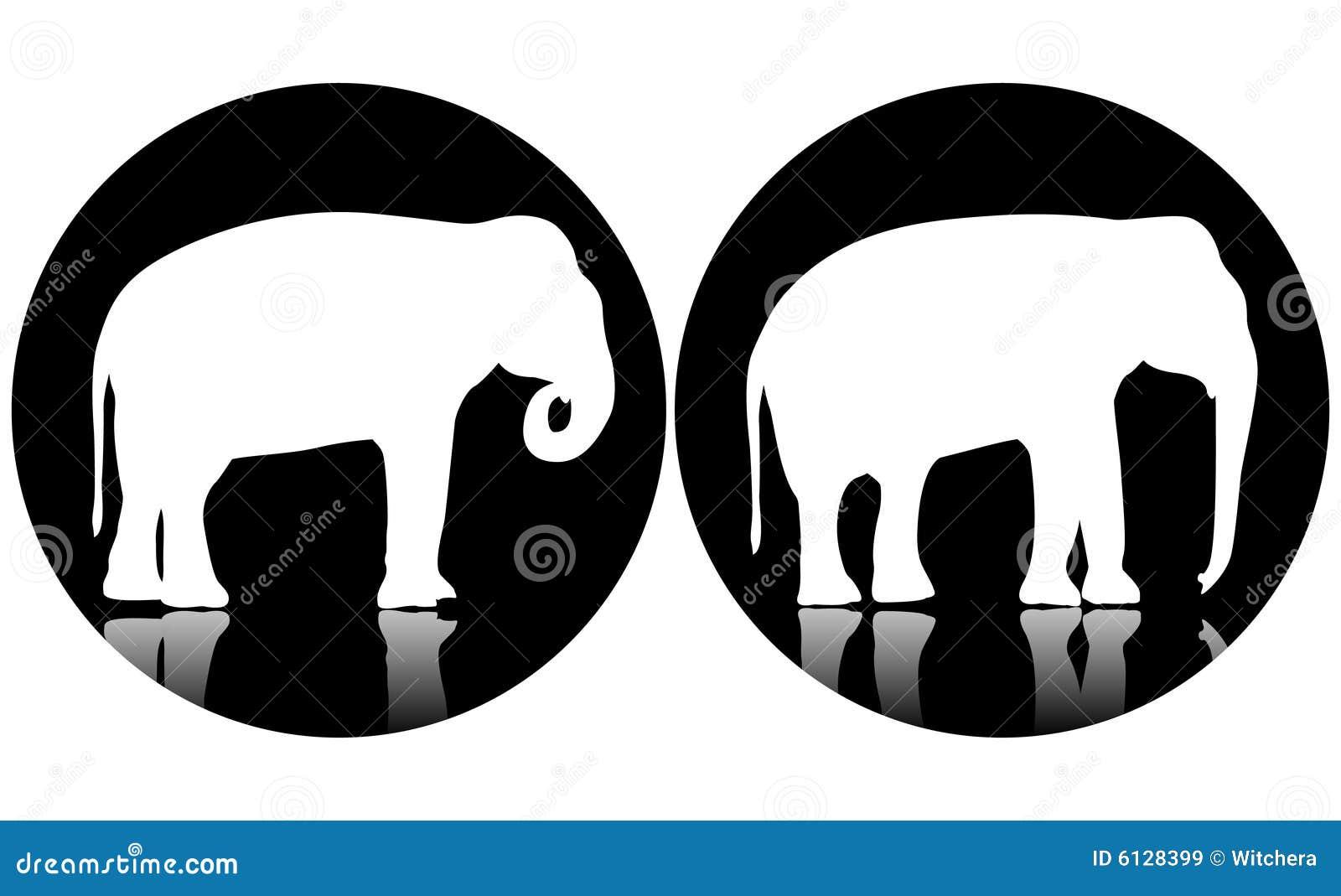 Two logo elephants