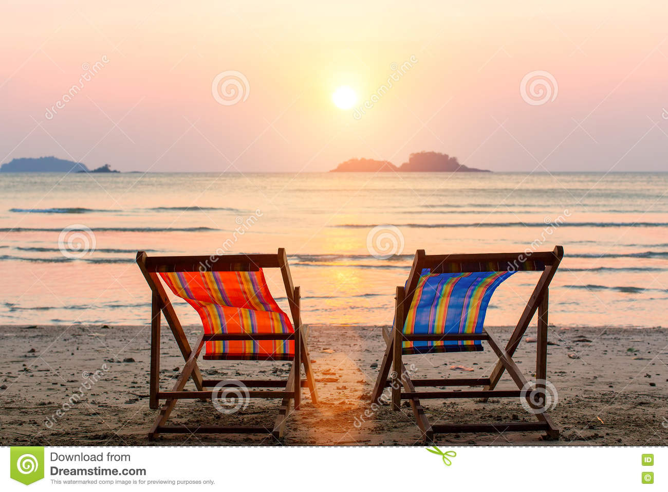 Two Lounge Chairs On Sunset Beach Relax Stock Image Image of