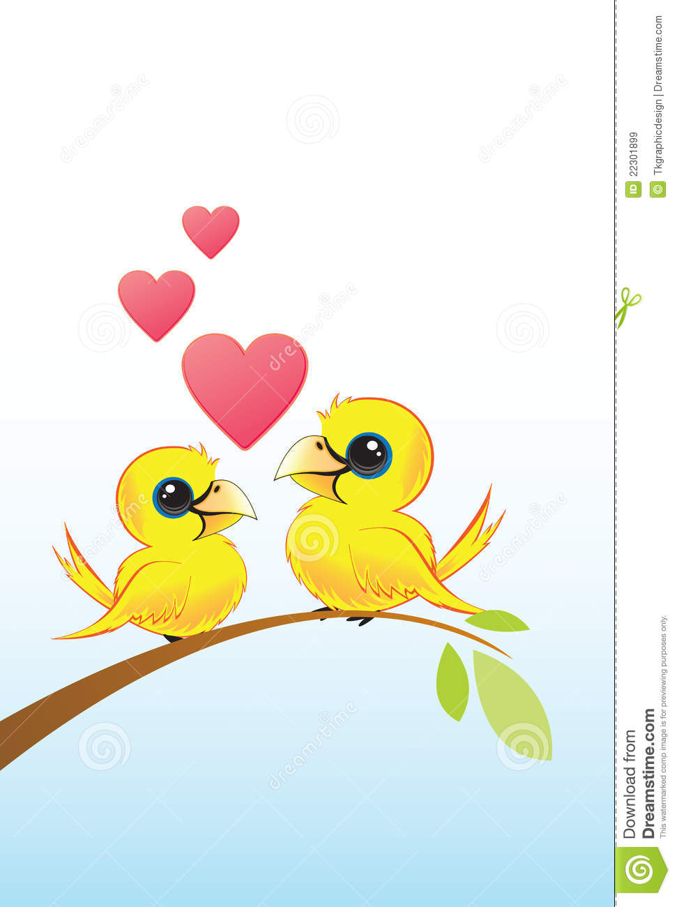 Branch with Two Love Birds
