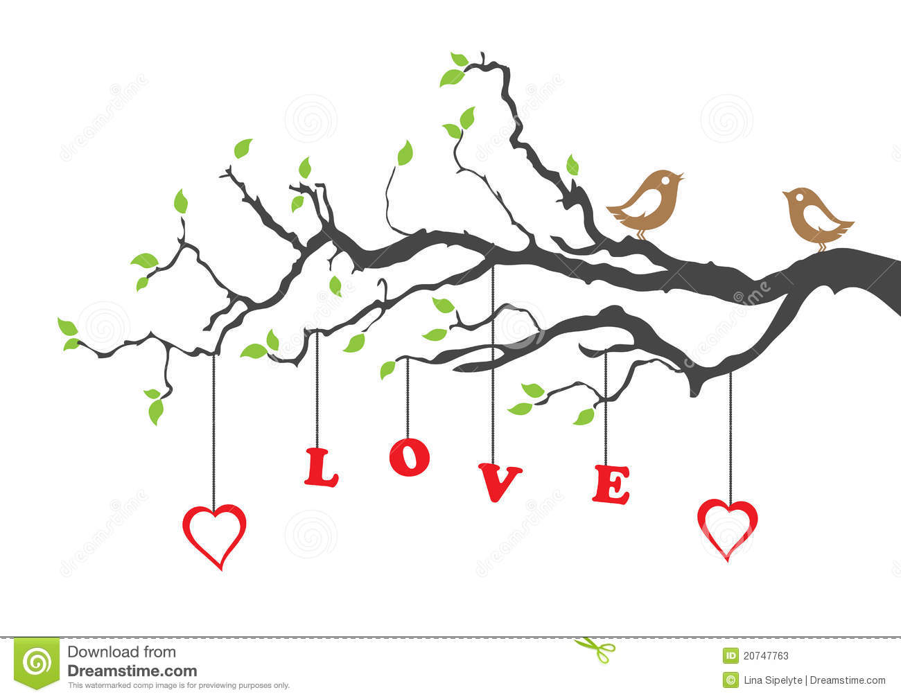 Two love birds and love tree greeting card. This image is a vector ...